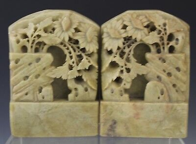 Vintage Chinese Export Carved Soapstone Floral Book Ends