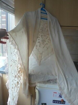 "Vintage Piano Scarf Cream/ Ivory Silk W. Embroidery Large 61""/63"" Few Defects"