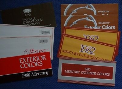 Lot of 9 brochures - 1975 79 80-82 & 85 MERCURY Auto Paint Colors - Ford Issued