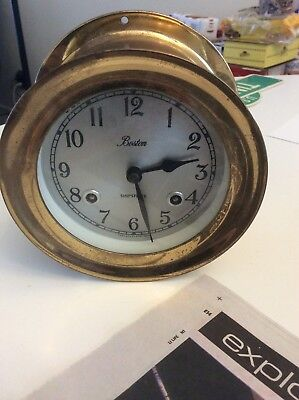 Nice Vintage Boston Chelsea Clock Usa Brass Ship's Bell Clock, 5 .1/2 Inch Round
