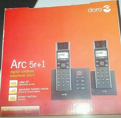 Doro Arc 5r+1 Digital Telephone and Answering Machine, Black
