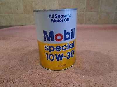 Vintage Mobil Special 10W-30 Motor Oil Quart Oil Can Full ~ Nice Graphics CLEAN
