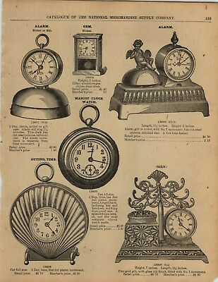 1893 PAPER AD 2 Sided Cast Iron Clocks Alarm Desk Ink Well Parker Double Bell