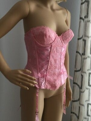 Fredericks Of Hollywood Sz 36 Pink babydoll Corset Lingerie Lace Garters Bustier