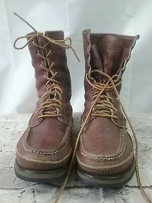 RARE W. C. Russell Vintage Men's Leather Moc Toe HUNTING Boots 10 D
