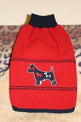"""Dog Coat/scottish Terrier/chest 22 - 24""""/ Lgh Exc Neck 16""""/ Colour Xmas Red/navy"""