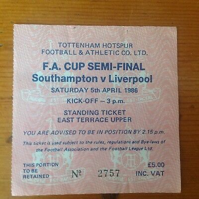 Match Ticket - Fa Cup Semifinal 1986 Liverpool V Southampton