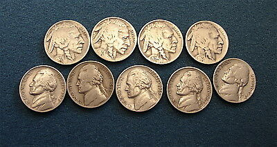 Old 5Cent Nickels Lot-----9 Coins----Jefferson and Buffalo