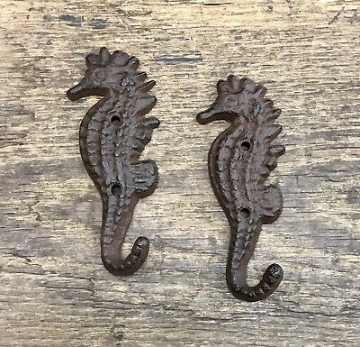 "Pair of Brown-Tone Cast Iron 5"" Tall Seahorse Vintage Nautical Wall Hooks"
