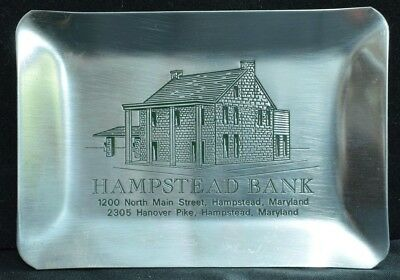 """4.75"""" x 6.75"""" Stainless Steel Hampstead Bank Hampstead MD Ash Tray"""
