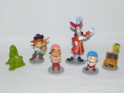 Lot 6 JAKE AND THE NEVERLAND PIRATES PVC Disney Toy Figures – Hook, Izzy, Cubby+