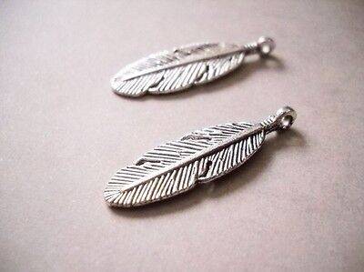 6 Feather charms antique silver tone B214