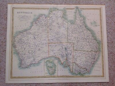 Original Antique Australia Map Tasmania Gold Fields W & AK Johnston