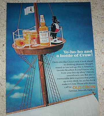 1966 ad page - Old Crow Kentucky Bourbon Whiskey clipper ship crow's nest ADVERT