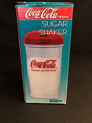 Vintage 1995 Coca-Cola Glass Sugar Shaker Pour Jar Dispenser Cafe Style  NIB