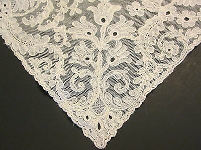 Antique Vtg Victorian French Alencon Lace Hand Made Hanky Ivory Bridal -Flaw