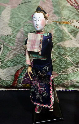 EARLY CHINESE F OPERA DOLL ANTIQUE JOINTED SILK EMBROIDERY Marionette painted
