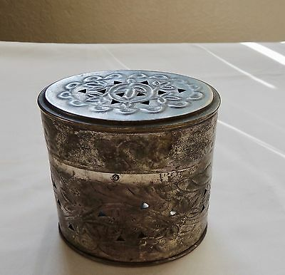 Antique or Vintage Brass Container Oval Potpourri Incense Jewelry Box