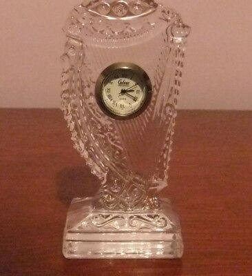 Collectable Galway Irish Crystal  'the Harp' Clock .