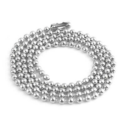 2X Men/'s 70cm Steel Ball Chain Silver Look Long Bead Necklace Fashion Chic S/&K
