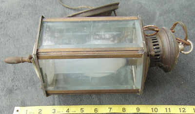 Vintage Hanging Light Lamp Brass Glass Porch Patina Steam Carriage lantern