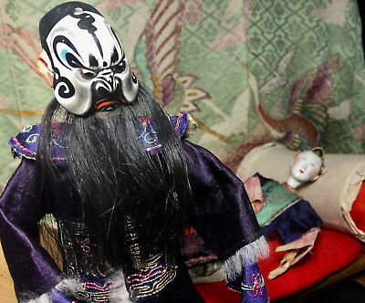 Chinese Opera Doll,King Marionette Jointed hand Painted Badge robe hand made art