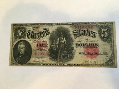1907 $5  United States Legal Tender Note U.S Red Seal  Horse Blanket  no reserve