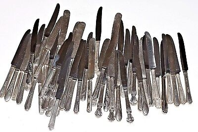 Vintage Silverplate Silverware Lot of 50 Dinner Knives Banquet Wedding Jewelry