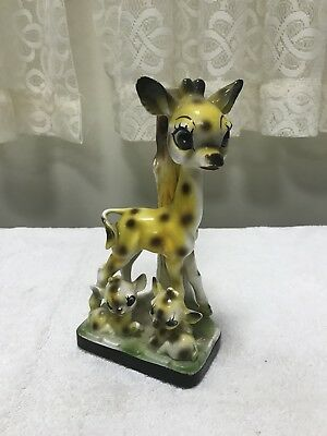Vintage Cute Bambi Deer Fawns Candle Holder? Hand Painted