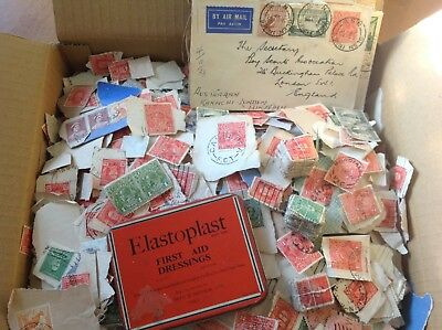 70+ YEAR OLD KILOWARE AUSTRALIAN PREDECIMAL(1.5kg) STAMPS ON PAPERS AND COVERS.