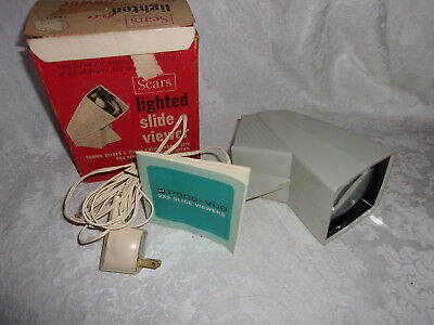 Sears lighted slide Viewer 2x2 inch Vintage for 35mm slides with AC Cord