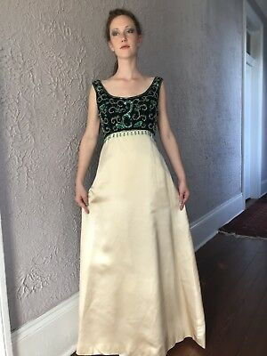 60's Vintage Jeweled Beaded Velvet Silk Satin Evening Gown Dress small