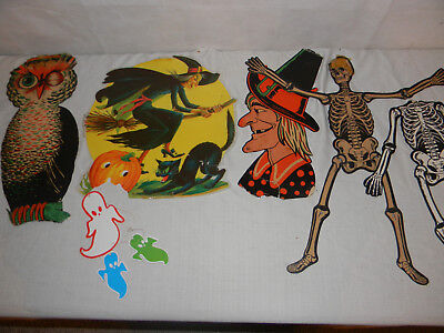 Vintage Halloween Decoration Lot Owl Witch Ghost Skeleton