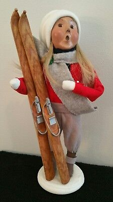 Byers' Choice Ltd The Carolers Limited Edition 2002 Blonde Girl w/ Skis, #98/100