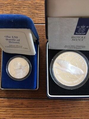 1990 THE BATTLE OF BRITAIN 50th Anniversary Silver Proof Coin Medallion (2)