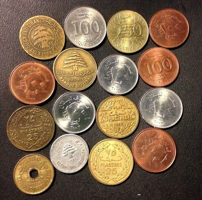 OLD Lebanon Coin Lot - 1924-Present - 16 Uncommon Coins - Lot #F19