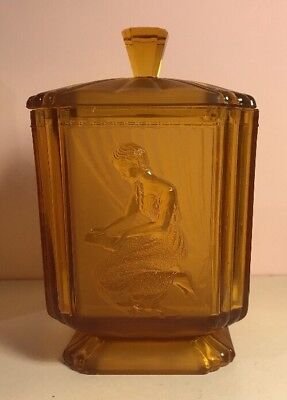 Art Deco Amber Pressed Glass Biscuit Barrel Pandora's Box By Sowerby 1920s 1930s