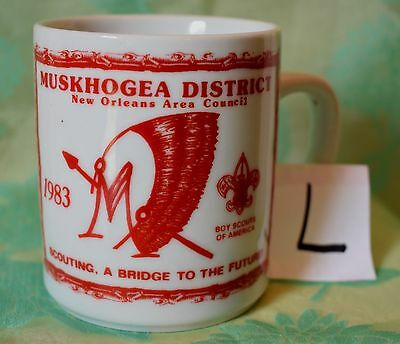 (L) Vtg Muskhogea District New Orleans Area Council 1983 coffee cup mug red