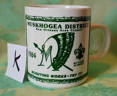 (K) Vtg Muskhogea District New Orleans Area Council coffee cup mug 1984 green