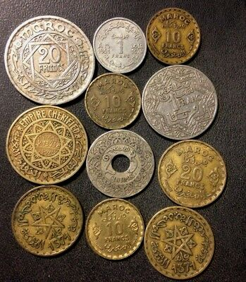 Old Morocco Coin Lot - 1921-1951 - 11 Excellent Uncommon Coins - Lot #F19