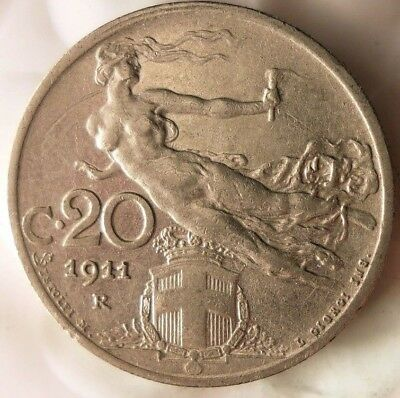 1911 ITALY 20 CENTESIMI - Scarce TYPE - Excellent Coin - Strong Value - Lot #F19