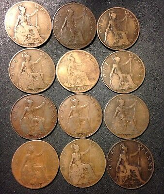 Vintage Great Britain Coin Lot - 12 GREAT OLD PENNIES - 1890-1921 - Lot #F19