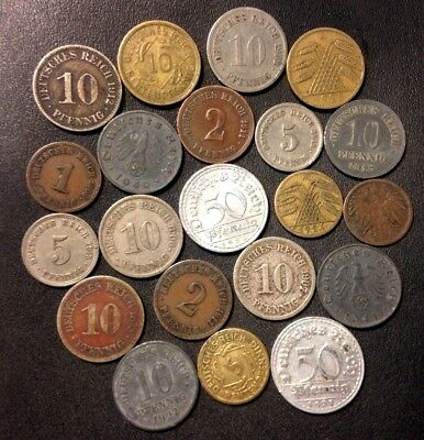 Vintage German Empire/Nazi Era Coin Lot - 1875-1940 - 21 GREAT Coins - Lot #F19