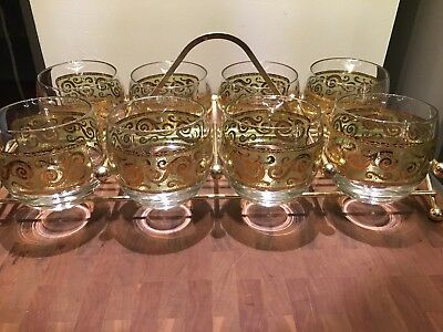 8 Culver Toledo ROLY POLY Bar Glasses Barware Green Gold MCM with Brass Carrier