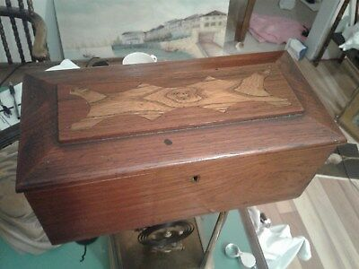 ANTIQUE OAK  INLAID WRITING SEWING or DOCUMENT BOX