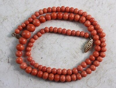 Vintage Chinese Natural Coral Beads Necklace