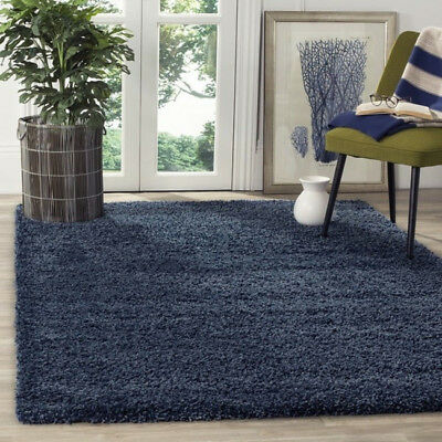 Safavieh Navy Shag Area Rug California Cozy Solid Carpet Large Soft Blue 5 x 8
