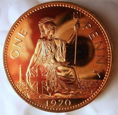 1970 GREAT BRITAIN PENNY - PROOF - Low Mintage Rare Coin - Lot #F19