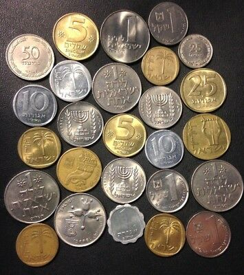 Vintage Israel Coin Lot - 26 Great Coins - 1949-PRESENT - Lot #F19