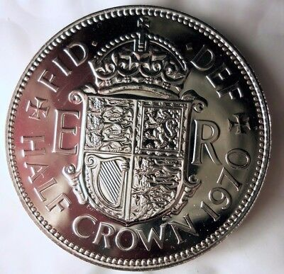 1970 GREAT BRITAIN HALF CROWN - PROOF - Low Mintage Rare Coin - Lot #F19